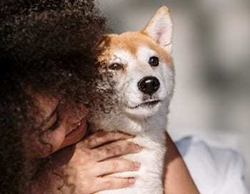 Visual of woman with her dog to advertise Pet Insurance